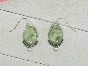 Prehnite & Black Tourmaline Earrings - Gem & Tonik