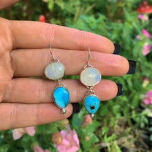 Load image into Gallery viewer, Morenci Turquoise & Moonstone Earrings - Gem & Tonik