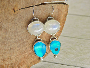 Morenci Turquoise & Moonstone Earrings - Sterling Silver - Gem & Tonik