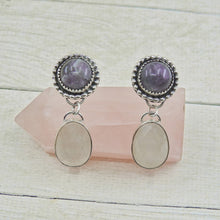 Load image into Gallery viewer, Amethyst & Rose Quartz Earrings - Gem & Tonik