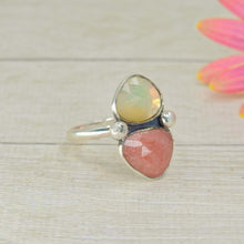 Load image into Gallery viewer, Ethiopian Fire Opal & Rhodochrosite Ring - Size 9 1/4 - Gem & Tonik