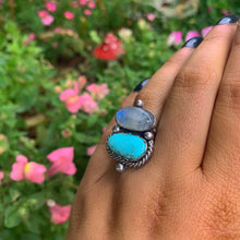 Load image into Gallery viewer, Dry Creek Turquoise & Moonstone Ring - Size 6 1/2 - Gem & Tonik