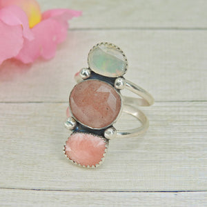 Ethiopian Fire Opal, Strawberry Quartz & Rhodochrosite Ring - Size 12 - Gem & Tonik