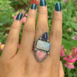 Rhodochrosite, Moonstone & Iolite Ring - Size 11 to 11 1/4 - Gem & Tonik