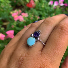 Load image into Gallery viewer, Dry Creek Turquoise & Iolite Ring - Size 7 to 7 1/4 - Gem & Tonik