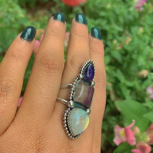 Iolite, Fluorite & Moonstone Ring - Size 8 1/2 - Gem & Tonik