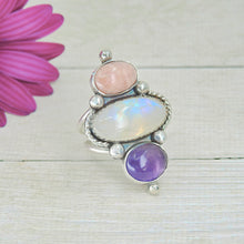Load image into Gallery viewer, Rhodochrosite, Moonstone & Amethyst Ring - Size 7 - Gem & Tonik