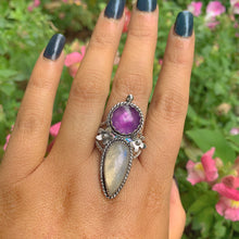 Load image into Gallery viewer, Amethyst & Moonstone Ring - Size 10 - Gem & Tonik