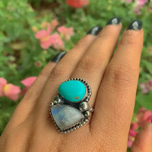 Load image into Gallery viewer, King's Manassa Turquoise & Moonstone Ring - Size 8 1/2 - Gem & Tonik