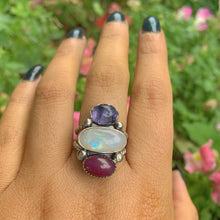Load image into Gallery viewer, Ruby, Iolite & Moonstone Ring - Size 8 - Gem & Tonik