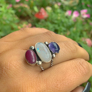 Ruby, Iolite & Moonstone Ring - Size 8 - Gem & Tonik