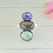 Load image into Gallery viewer, Amethyst, Fluorite & Prehnite Ring  - Size 11 - Gem & Tonik