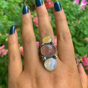 Ethiopian Fire Opal, Strawberry Quartz & Moonstone Ring - Size 9 - Gem & Tonik