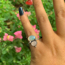 Load image into Gallery viewer, Ethiopian Fire Opal & Rose Quartz Ring - Size 4 - Gem & Tonik