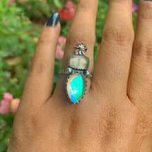 Load image into Gallery viewer, Prehnite & Angel Aura Quartz Ring - Size 5 to 5 1/4 - Gem & Tonik