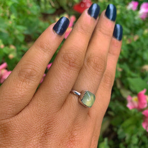 Square Prehnite Ring - Size 8 - Gem & Tonik