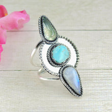 Load image into Gallery viewer, Prehnite, Moonstone & Sierra Nevada Turquoise Ring - Size 10 1/4 - Gem & Tonik