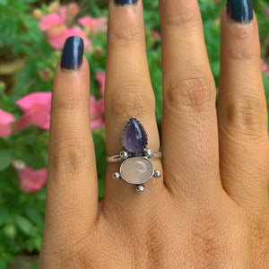 Iolite & Rose Quartz Ring - Size 5 3/4 - Gem & Tonik