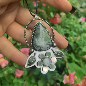 The Garden Guardian - Moss Agate & Moonstone Pendant - Gem & Tonik