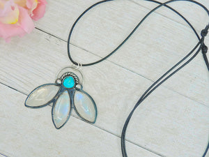 Dry Creek Turquoise & Moonstone Lotus Pendant - Gem & Tonik