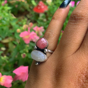 Rhodochrosite & Moonstone Ring - Size 5 - Gem & Tonik