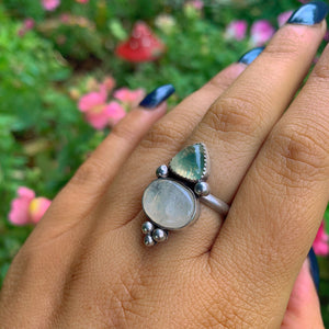 Prehnite & Moonstone Ring - Size 7 1/2 - Gem & Tonik