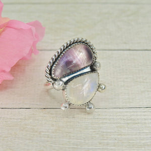 Fluorite & Moonstone Ring - Size 8 - Gem & Tonik