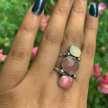 Load image into Gallery viewer, Ethiopian Fire Opal, Strawberry Quartz & Rhodochrosite Ring - Size 12 - Gem & Tonik