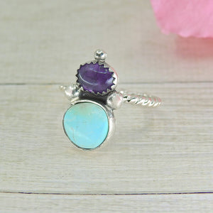 Dry Creek Turquoise & Iolite Ring - Size 7 to 7 1/4 - Gem & Tonik
