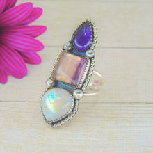 Load image into Gallery viewer, Iolite, Fluorite & Moonstone Ring - Size 8 1/2 - Gem & Tonik