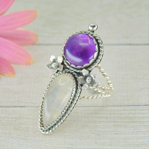Amethyst & Moonstone Ring - Size 10 - Gem & Tonik