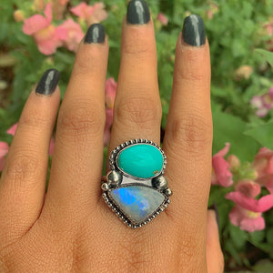 King's Manassa Turquoise & Moonstone Ring - Size 8 1/2 - Gem & Tonik
