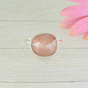 Strawberry Quartz Ring - Size 8 - Gem & Tonik