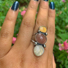 Load image into Gallery viewer, Ethiopian Fire Opal, Strawberry Quartz & Moonstone Ring - Size 9 - Gem & Tonik