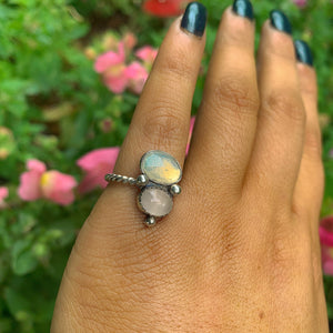 Ethiopian Fire Opal & Rose Quartz Ring - Size 4 - Gem & Tonik