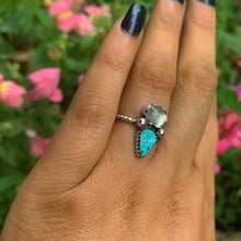 Load image into Gallery viewer, Prehnite & Turquoise Mountain Turquoise Ring - Size 6 - Gem & Tonik