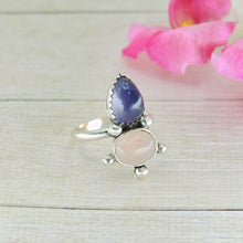 Load image into Gallery viewer, Iolite & Rose Quartz Ring - Size 5 3/4 - Gem & Tonik