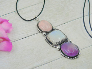 Rose Quartz, Amethyst & Moonstone Pendant - Gem & Tonik