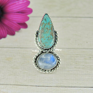 Number 8 Turquoise & Moonstone Ring - Size 6 - Gem & Tonik