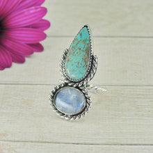 Load image into Gallery viewer, Number 8 Turquoise & Moonstone Ring - Size 6 - Gem & Tonik