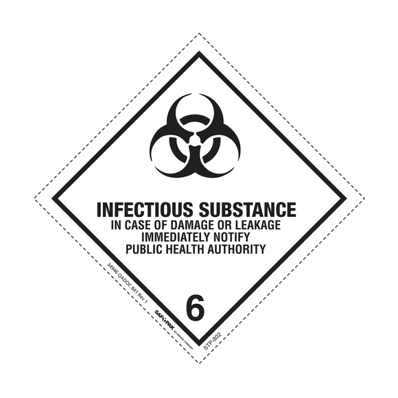 Saf-T-Pak® STP-802 Class 6.2 Infectious Substance Labels, 4 x 4