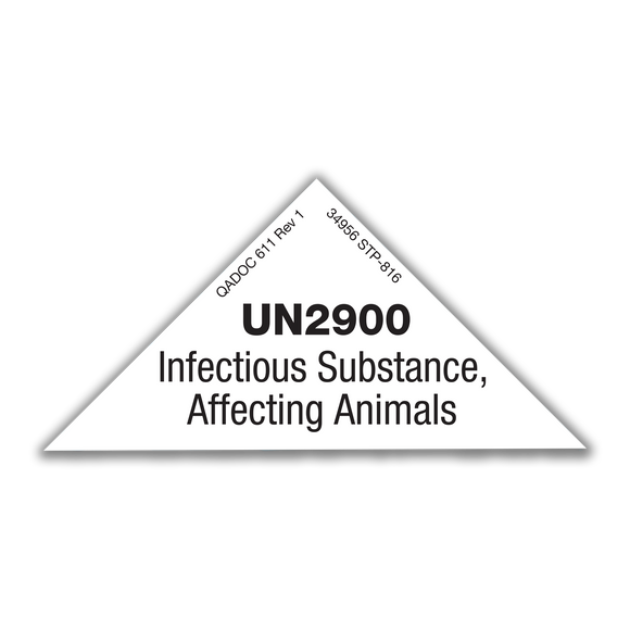 Saf-T-Pak® STP-816 UN2900 Infectious Substance, Affecting Animals - Marking, 4 1/8 x 2 1/16