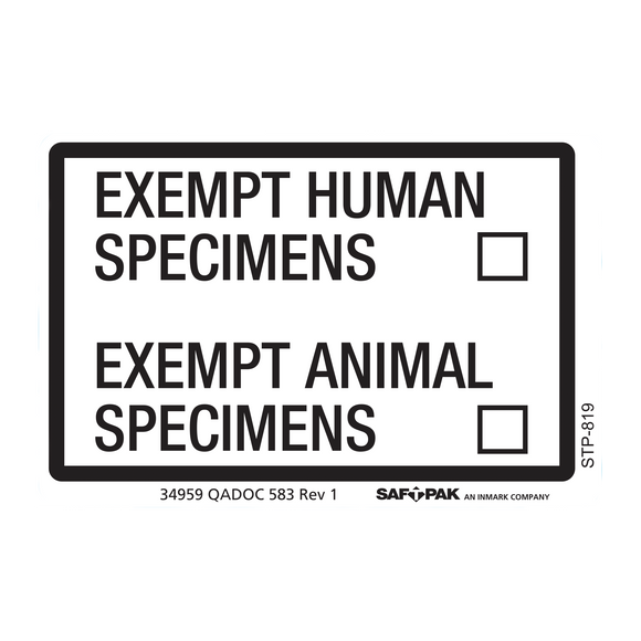 Saf-T-Pak® STP-819 Exempt Human / Exempt Animal Specimen Labels 2