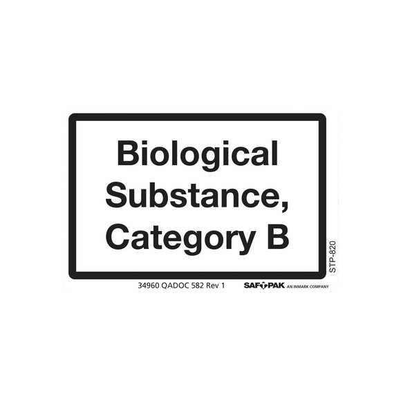 Saf-T-Pak® STP-820 Category B Biological Substance Marking, 2