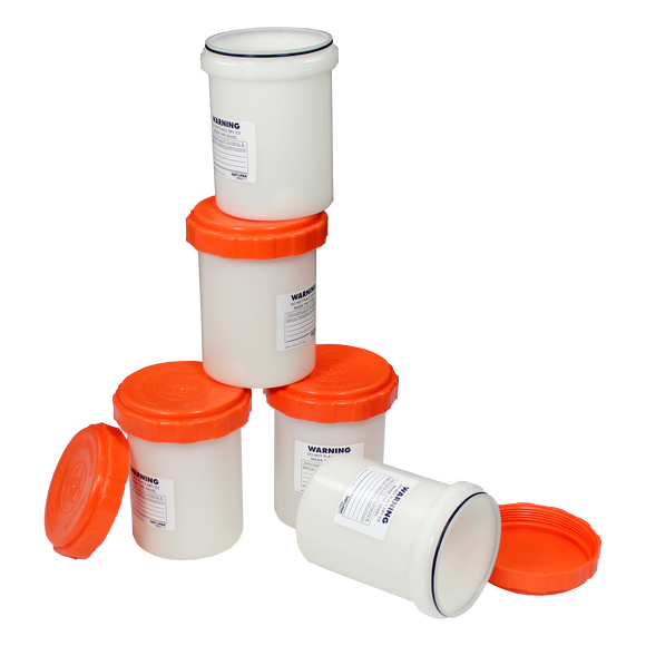 Saf-T-Pak® STP-104 - 1.25L Reusable Polypropylene Secondary Pressure Vessel, Orange Lid, 6/Case
