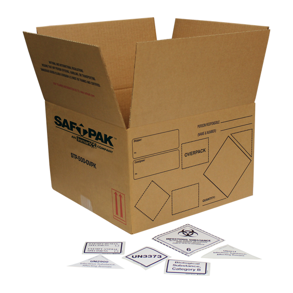 Saf-T-Pak® STP-500-OVPK Overpack System, Insulated, Category A, B and Exempt Patient Specimen, (UN 2814, UN 2900, UN 3373) Small, 10/Case