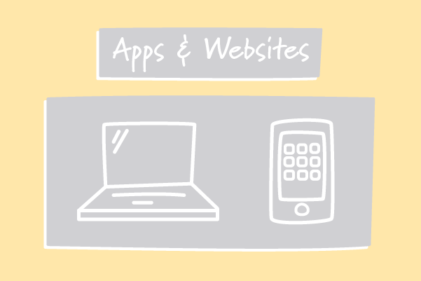 A computer and a smartphone with apps. Illustration.