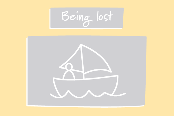A person exploring in a sailing boat. Illustration.