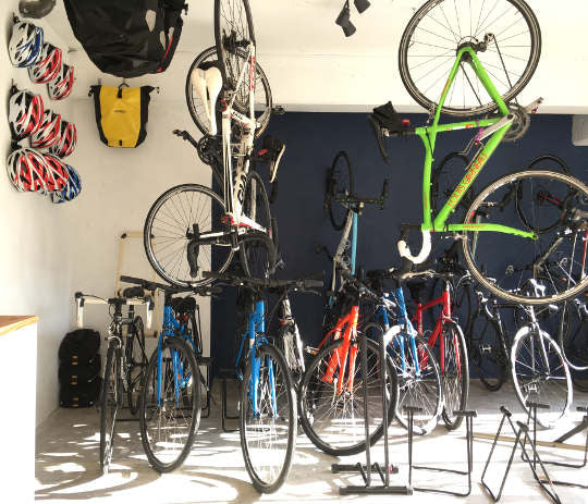 Bikes and gear in our shop.