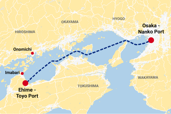 The ferry route from Osaka port to Toyo port in Shikoku.